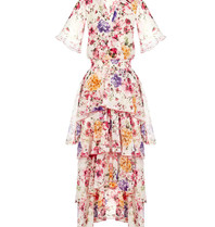 Rinascimento Rinascimento Maxi bloemen jurk met volant multicolor