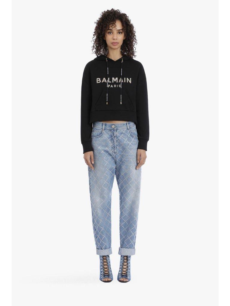 Balmain Balmain Cropped sweater met logo zwart goudkleurig