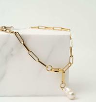 Souvenirs de Pomme Souvenirs De Pomme Link chain small wild pearl goud