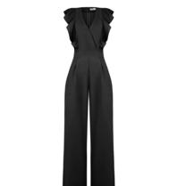 Rinascimento Rinascimento jumpsuit met v-hals en volants zwart