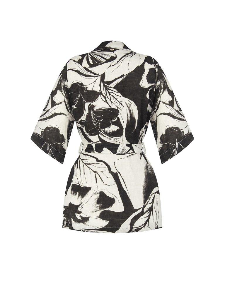 Rinascimento Rinascimento jacket met print en ceintuur zwart wit
