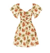 Rinascimento Rinascimento mini jurk met trompetmouw beige