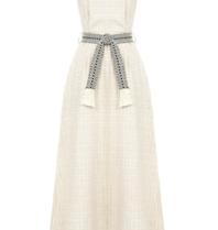 Rinascimento Rinascimento maxi jurk met ruitjesprint beige