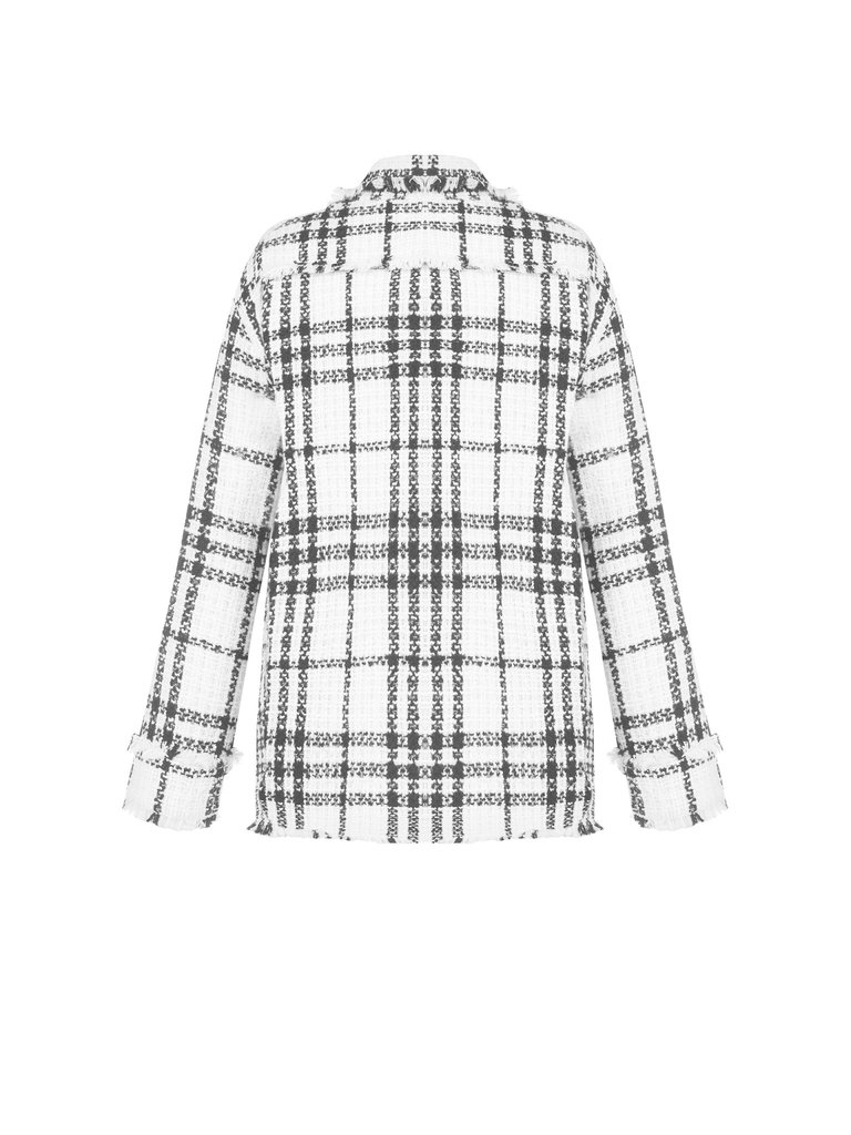 Rinascimento Rinascimento tweed jacket met knopen zwart wit