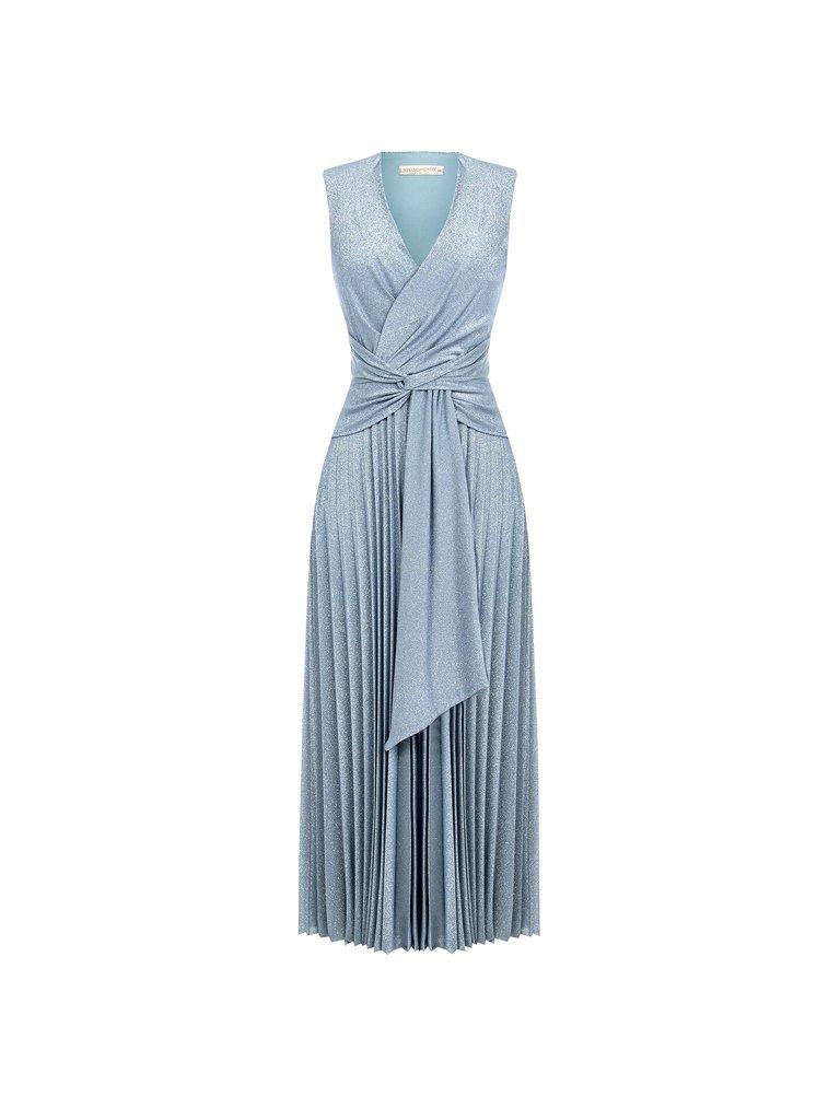 Rinascimento Rinascimento glitter maxi jurk met knoop detail blauw