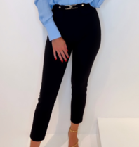Elisabetta Franchi Elisabetta Franchi skinny pantalon met logo gesp zwart
