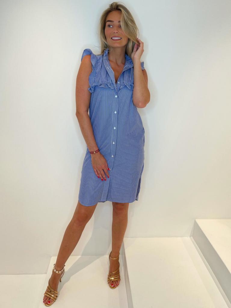 Est'seven Est'Seven Paris Ruffle dress wit blauw