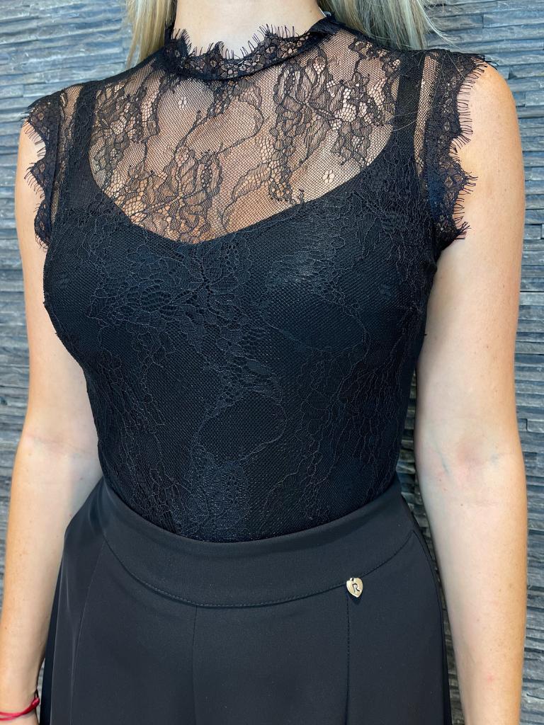 Rinascimento Rinascimento body met kanten details zwart