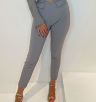 Elisabetta Franchi Elisabetta Franchi skinny pantalon met logo gesp grijs