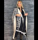 Elisabetta Franchi Elisabetta Franchi knitted cape met grafisch patroon zwart wit