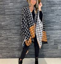 Elisabetta Franchi Elisabetta Franchi knitted cape met grafisch patroon zwart camel