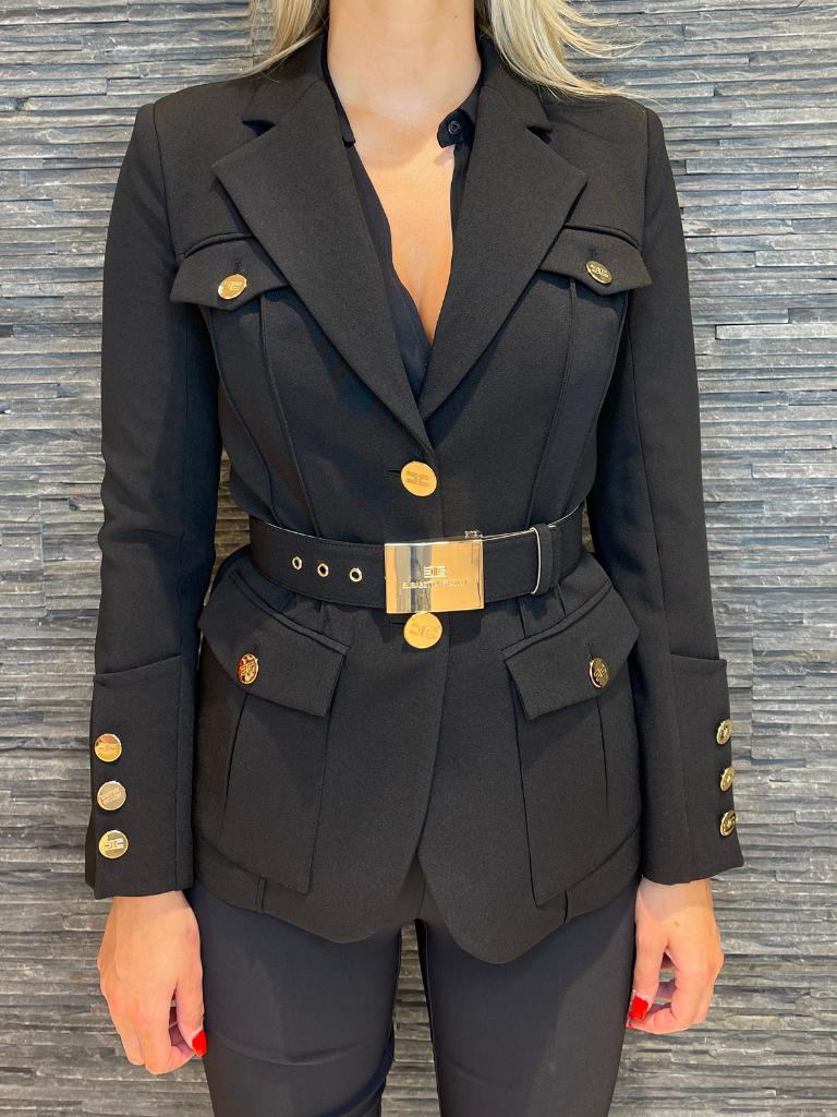 Elisabetta Franchi Elisabetta Franchi jacket met ceintuur zwart