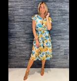 Rinascimento Rinascimento midi jurk met bloemenprint en volant blauw