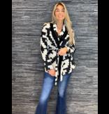 Rinascimento Rinascimento tricot vest met ceintuur zwart wit