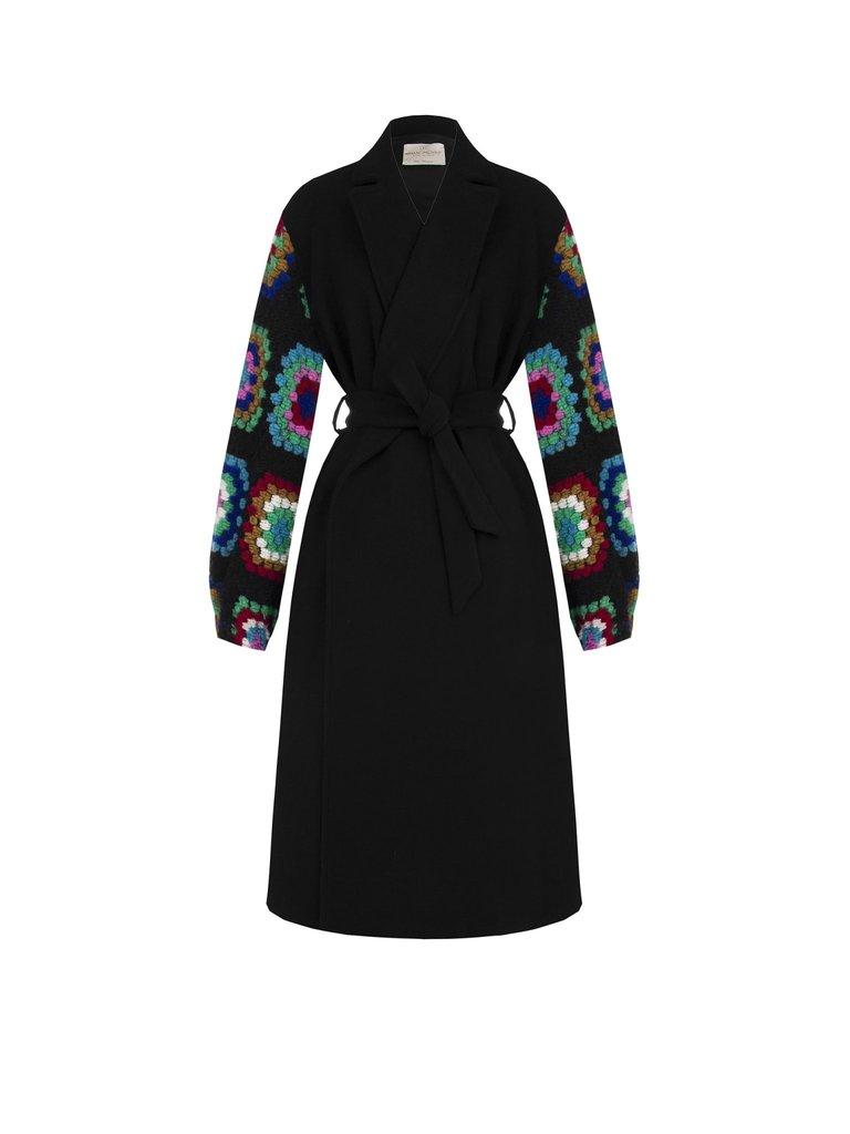 Rinascimento Rinascimento mantel jas met kleur accenten zwart