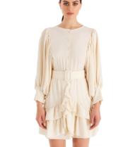 Rinascimento Rinascimento mini jurk met volant details ivory