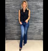 Rinascimento Rinascimento mouwloze blouse met ruffles zwart