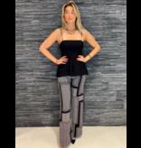 Rinascimento Rinascimento jumpsuit met labyrint en strik zwart wit