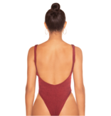 La Sisters LA Sisters Crinkle Low Back Swimsuit Burgundy