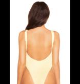 La Sisters LA Sisters Crinkle Low Back Swimsuit Cream