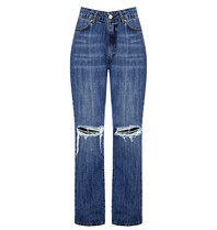 Rinascimento Rinascimento straight jeans met destroyed details blauw