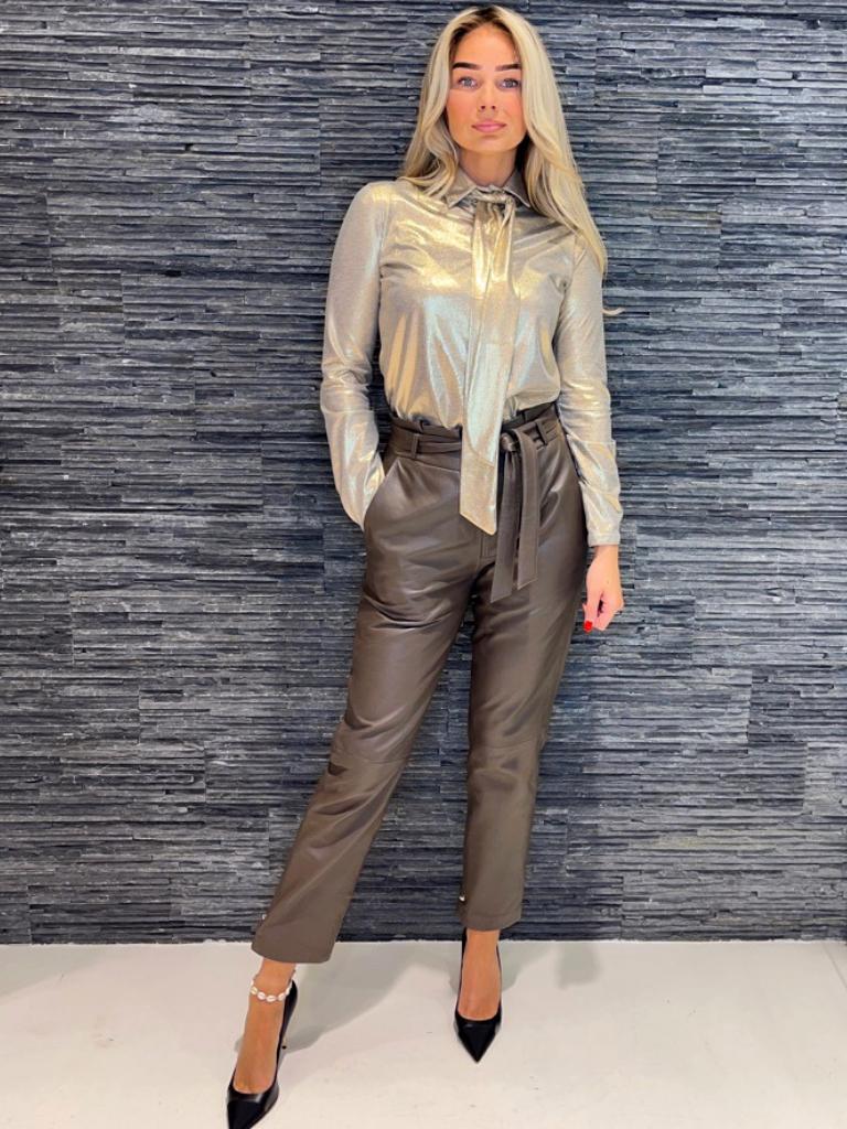 Est'seven Est'Seven Bow blouse foil gold