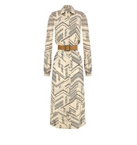 Rinascimento Rinascimento beige lange jurk met patroon en ceintuur