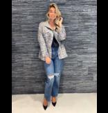 Co'couture Co'couture getailleerd kort jack met panterprint