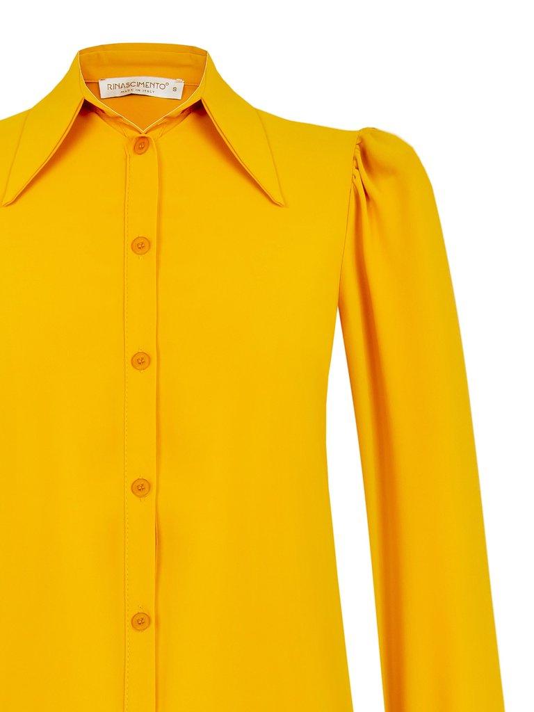 Rinascimento Rinascimento blouse met pofmouwen mosterdgeel
