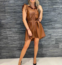Rinascimento Rinascimento jurk faux leder bruin