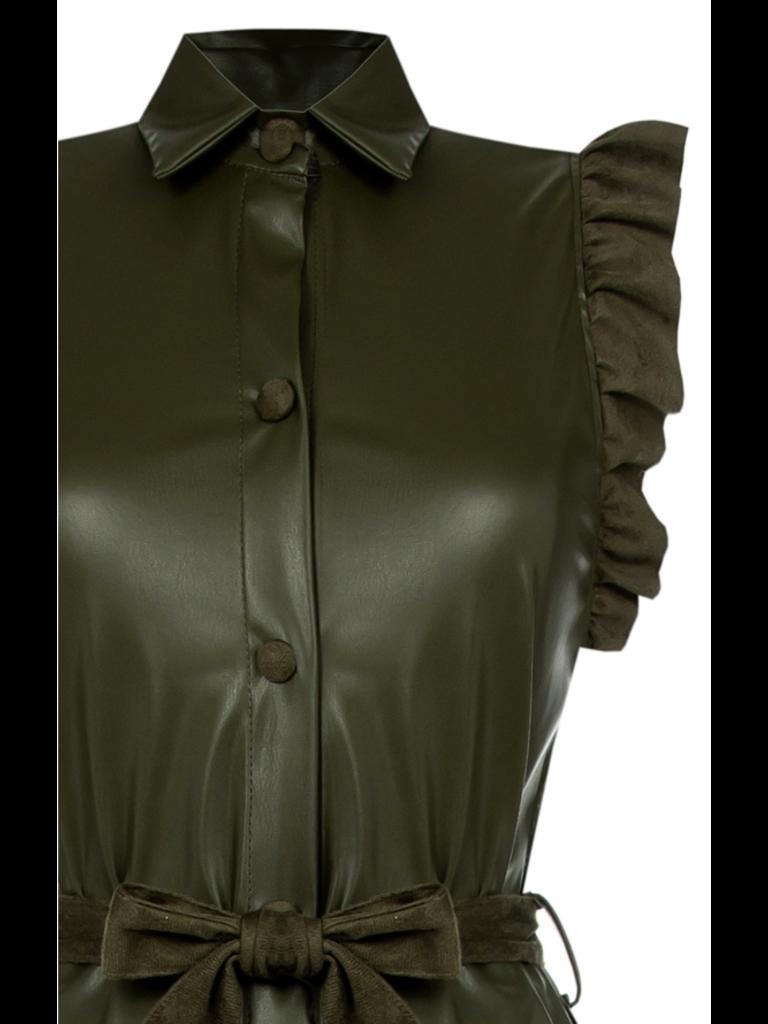 Rinascimento Rinascimento jurk faux leder army