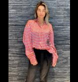 DMN Paris DMN Paris Chloe zijde blouse pied de Coq rood wit