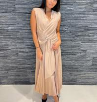 Rinascimento Rinascimento glitter maxi jurk met knoop detail rose