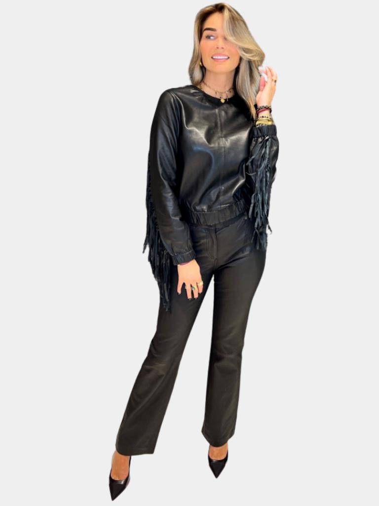 Est'seven Est'Seven leather fringle sweater zwart