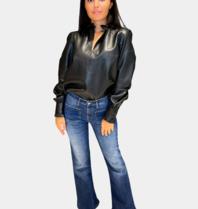 Est'seven Est'Seven Etoile blouse leather zwart