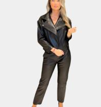 Est'seven Est'Seven Noel Biker jacket zwart gunmetal