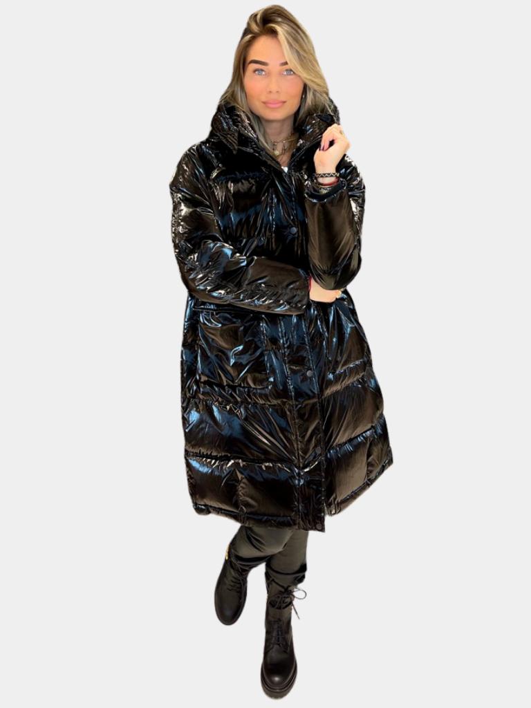 Rinascimento Rinascimento puffer jas met glansdetails zwart