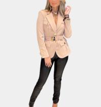 Elisabetta Franchi Elisabetta Franchi jacket met ceintuur beige