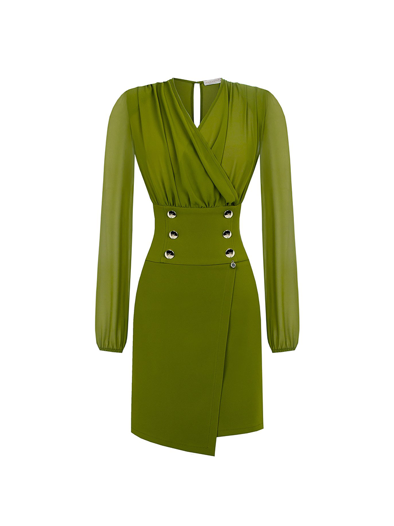 Rinascimento Rinascimento gedrapeerde jurk met gouden knopen groen