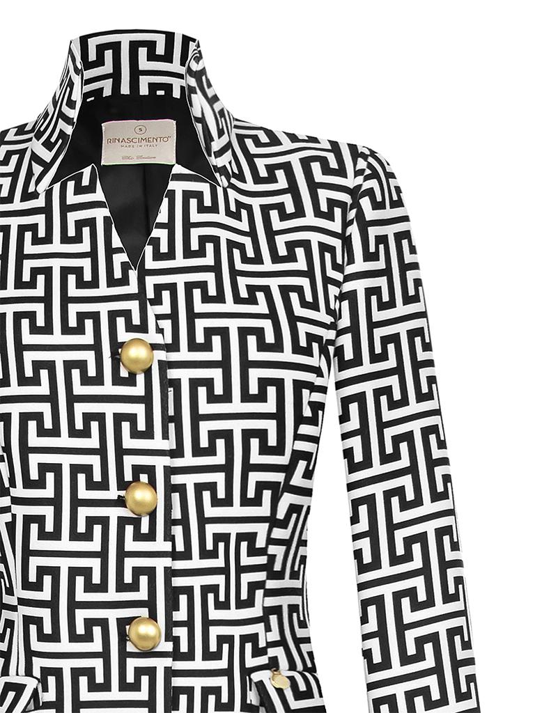 Rinascimento Rinascimento jas met patroon en gouden knopen wit