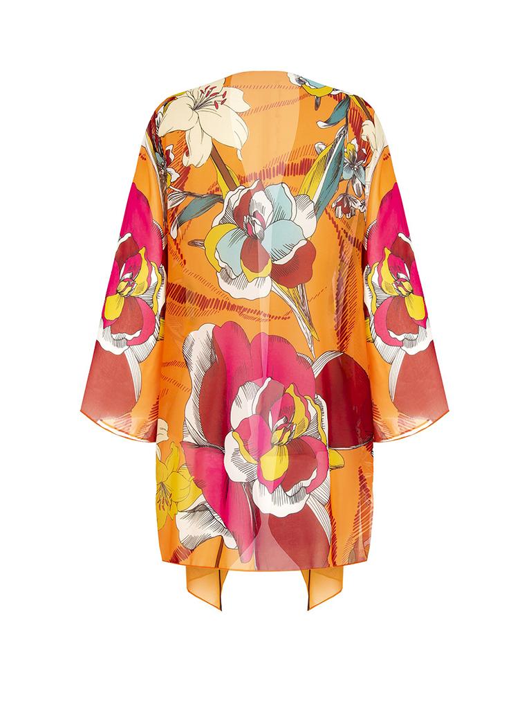 Rinascimento Rinascimento kimono met bloemenprint oranje