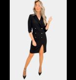 Rinascimento Rinascimento blazerjurk met knopen en split zwart