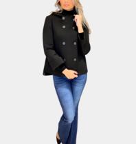 Rinascimento Rinascimento jas met knopen en capuchon zwart