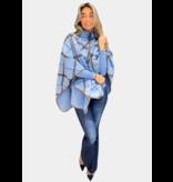 Rinascimento Rinascimento geruite poncho met hoge kraag blauw