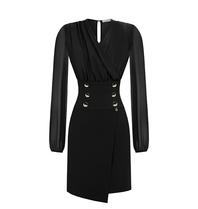 Rinascimento Rinascimento gedrapeerde jurk met knopen zwart