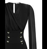Rinascimento Rinascimento gedrapeerde jurk met gouden knopen zwart