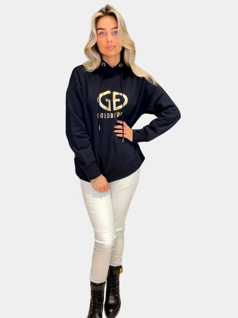 Goldbergh Goldbergh Harvard hoodie met logo zwart goud