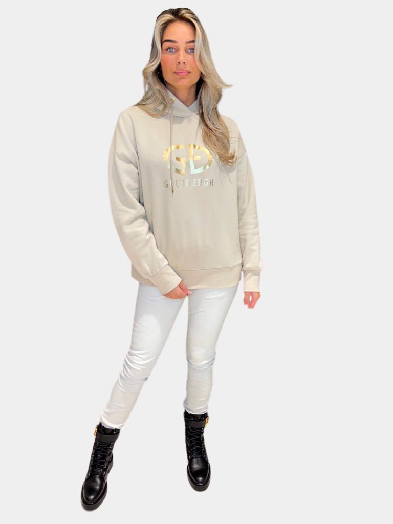 Goldbergh Goldbergh Harvard hoodie met logo beige goud