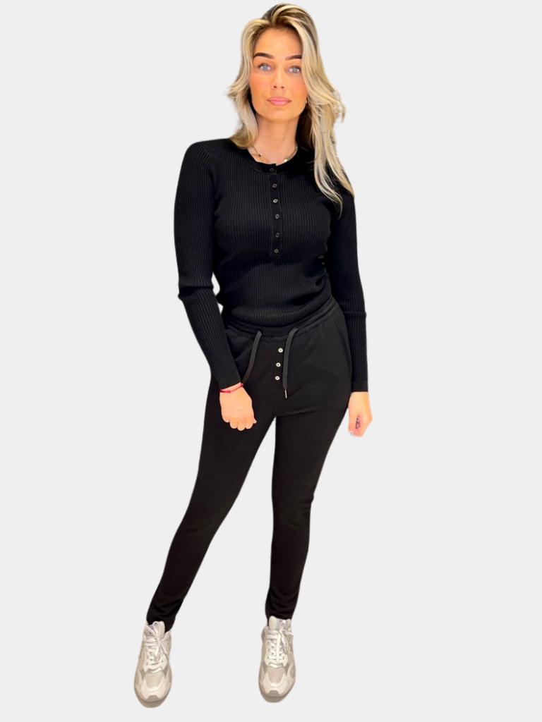 Co'couture Co'Couture Badu top met knopen zwart