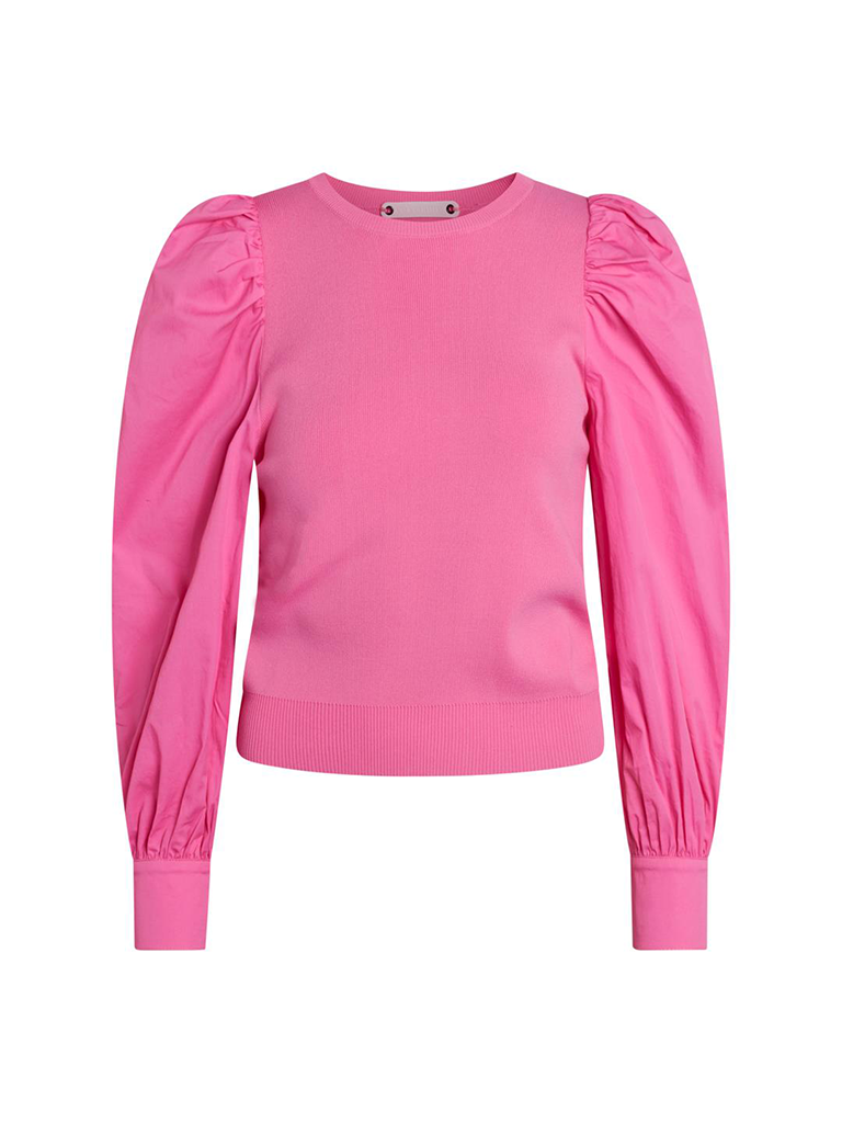 Co'couture Co'Couture Mercia top met pofmouwen roze